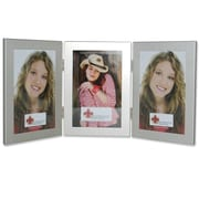 Lawrence Frames Hinged Triple Picture Frame; Brushed Satin Silver