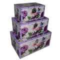 Cheungs 3 Piece Flat Top Keepsake Trunk with Floral Design Set
