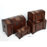 International Caravan Seville Faux Leather Indoor Storage Trunks (Set of 4); Mix Pattern