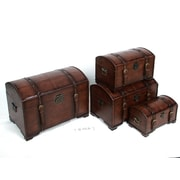 International Caravan Seville Faux Leather Indoor Storage Trunks (Set of 4); Brown