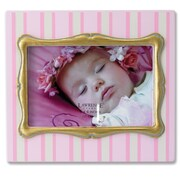 Lawrence Frames Pinstripe Picture Frame; Pink with Gold