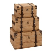 Woodland Imports Vintage Look 3 Piece Wood Trunk