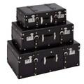 Woodland Imports 3 Piece Wood Faux Leather Trunk Set; Black