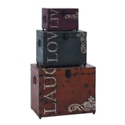 Woodland Imports Live Love Laugh 3 Piece Storage Trunk