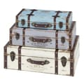 Woodland Imports 3 Piece Wood Trunk Set; Blue/Lavender/Ivory