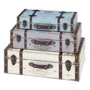 Woodland Imports 3 Piece Wood Trunk Set; Blue/Lavender/Ivory