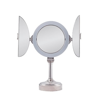 Zadro™ Surround Light™ 10x/1x Tri-Fold Vanity Mirror, Polished Nickel