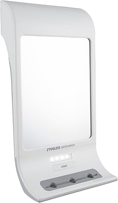 Zadro Z'Fogless 1x Magnification Water Mirror With LED Light Panel and Tri Accessory Holder, White 1001790