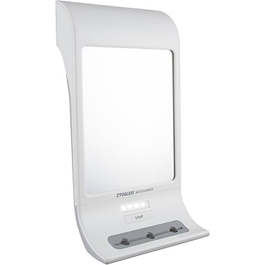 Zadro™ Z'Fogless™ 1x Magnification Water Mirror With LED Light Panel and Tri Accessory Holder, White