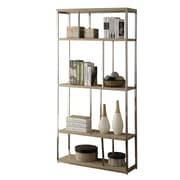 Monarch® Reclaimed Metal 4 Shelves Bookcase, Natural/Chrome