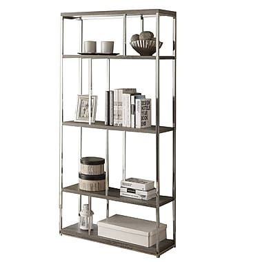 Monarch® Reclaimed Metal 4 Shelves Bookcase, Dark Taupe/Chrome