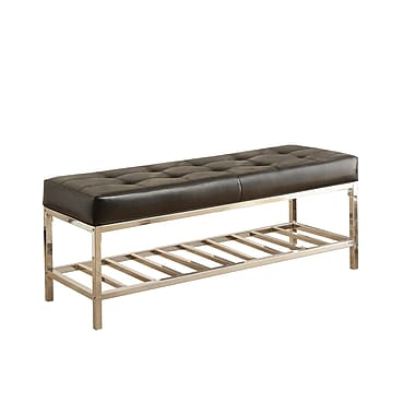 Monarch® Leather-Look Chrome Metal Bench, Black