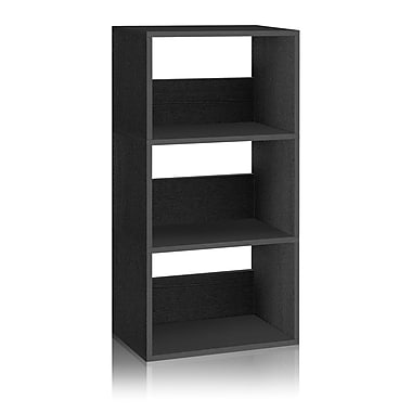 Way Basics Eco-Friendly 3 Shelf Triplet Bookcase Storage Shelf, Black Wood Grain - Lifetime Warranty