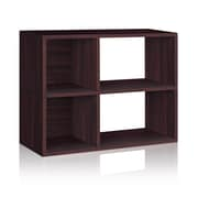 Way Basics Eco 2 Shelf Chelsea Bookcase and Cubby Storage, Espresso