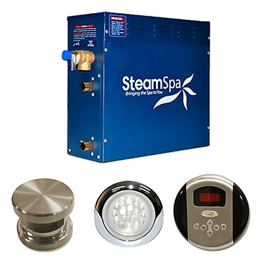 Steam Spa SteamSpa Indulgence 6 KW QuickStart Steam Bath Generator Package; Brushed Nickel