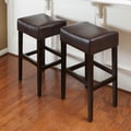 Home Loft Concept George Backless 31'' Leather Bar Stool (Set of 2); Brown