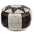 Ikram Design Fez Moroccan Leather Pouf Ottoman; Black / Beige