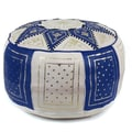 Ikram Design Fez Moroccan Leather Pouf Ottoman; Navy / Beige