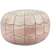 Ikram Design Moroccan Leather Pouf Ottoman; Natural