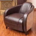 Home Loft Concept Manado Channeled Leather and Metal Club Chair