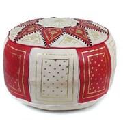 Ikram Design Fez Moroccan Leather Pouf Ottoman; Red / Beige