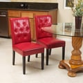 Home Loft Concept Autry Bonded Leather Dining Chair (Set of 2); Red