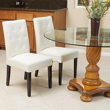 Home Loft Concept Autry Bonded Leather Dining Chair (Set of 2); Ivory