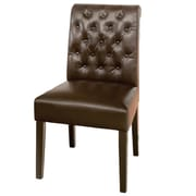 Home Loft Concept Cullon Tufted Leather Dining Chair; Leather - Brown