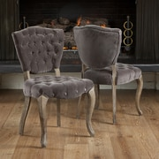 Home Loft Concept Yates Tufted Fabric Dining Chairs (Set of 2) (Set of 2); Charcoal