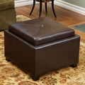 Home Loft Concept Drexel Leather Tray Top Storage Ottoman; Brown