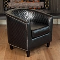Home Loft Concept Alford Bonded Leather Quilted Barrel Chair; Black