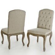 Home Loft Concept Belmont Tufted Fabric Weathered Hardwood Dining Chairs (Set of 2)