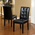 Home Loft Concept Tevita Button Tufted 2 pk Dining Chair (Set of 2); Black
