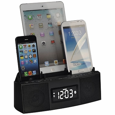 DOK 3 Port Charger with Speakerphone (Bluetooth), Alarm, Clock, and FM Radio
