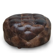 Lazzaro Leather Ottoman; Medium
