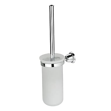 Artos Cantori Wall MountedFrosted Glass Toilet Brush and Holder; Brushed Nickel