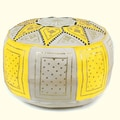 Ikram Design Fez Moroccan Leather Pouf Ottoman; Yellow / Beige