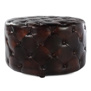 Lazzaro Leather Drum Tufted Cocktail Ottoman