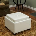 Home Loft Concept Drexel Leather Tray Top Storage Ottoman; Ivory