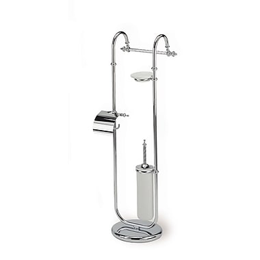 Stilhaus by Nameeks Giunone Free Standing Classic Style Four Function Toilet Brush Set; Chrome