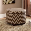 Kinfine Fashion Storage Ottoman; Chocolate and Tan Chevron