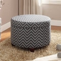 Kinfine Fashion Storage Ottoman; Gray and Glacier Blue Chevron