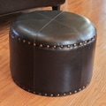 International Caravan Faux Leather 17  Ottoman; Black