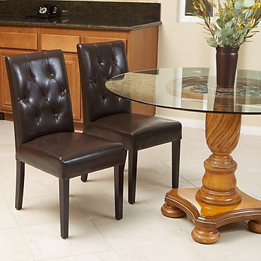 Home Loft Concept Autry Bonded Leather Dining Chair (Set of 2); Java