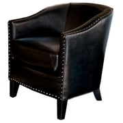 Nfusion Starks Leather Studded Club Chair; Black