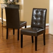 Christopher Knight Home Roland Leather Dining Chairs (Set of 2); Chocolate Brown