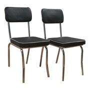 TMS Retro Side Chair (Set of 2); Black