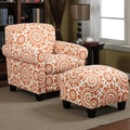 Handy Living Winnetka Chair and Ottoman; Orange Medallion