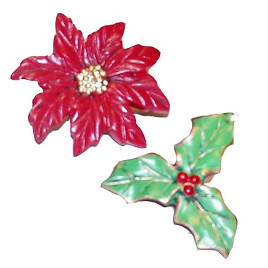 Carnation Home Fashions Poinsettia Resin Holiday Pattern Shower Curtain Hooks (Set of 12)