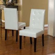 Christopher Knight Home Roland Leather Dining Chairs (Set of 2); Ivory
